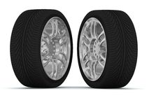 Wheels. 3d illustration wheels on a white background Royalty Free Stock Photo