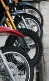 Wheels. Of four lined up motorbikes Royalty Free Stock Photography