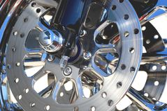 Wheels. Chrome motorcycle in the afternoon sun Stock Image