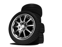 Wheels. With steel rims over the white background Stock Images