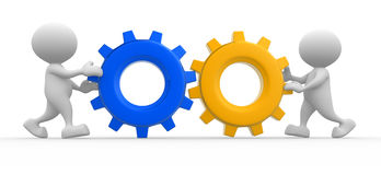 Wheels. 3d people - men, person with gear mechanism.  Wheels Royalty Free Stock Images