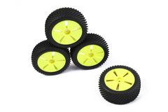 Wheels. Small wheels to model of buggy rc car isolated on white background Stock Photos