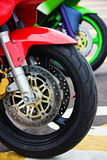 Wheels. Colorful motorcycle wheels and brakes, design elements Stock Images