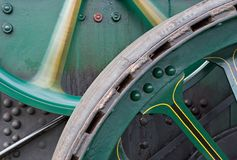 Wheels. On a traction engine (detail Stock Photos