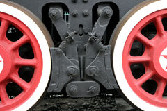 Wheels. Railway wheels of a historical steam locomotive removed largely Royalty Free Stock Image