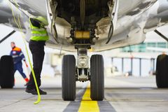 Wheels of the airplane Stock Photos