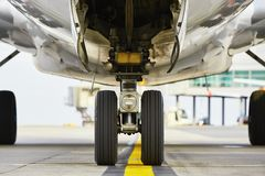 Wheels of the airplane Royalty Free Stock Photos