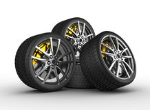 Wheels with alloy rims Stock Images