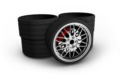Wheels with alloy rims - 3d render Royalty Free Stock Photos