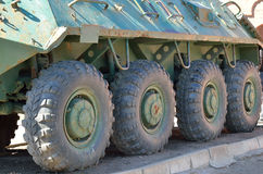 Wheels of armored troop-carrier Stock Photos