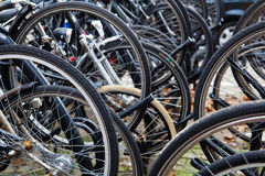 Wheels of bicycles Stock Photo