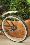 The wheels of bicycles parked at the park. Royalty Free Stock Images