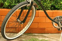 The wheels of bicycles parked at the park. Stock Image