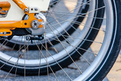 Wheels. Bike sharing wheels perspective in Milan Royalty Free Stock Image