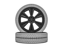 Wheels with blackened rim. Sketch. 3D. Rendering Royalty Free Stock Photo