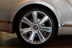 Wheels and braking system components of a full-size luxury car Bentley New Continental GT V8 convertible Stock Image