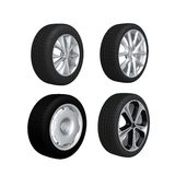 Wheels. 4 car wheels isolate on white Royalty Free Stock Images