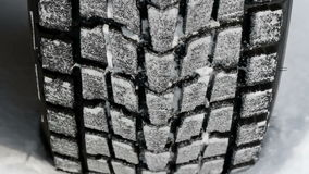 Wheels of a car. Traveling on winter roads stock video
