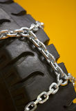 Wheels with chains Stock Photography