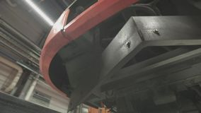 Wheels on chassis of train wagons at workshop in factory. Modern transportaion concept stock video