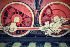 Wheels closeup vintage locomotive of red color Royalty Free Stock Images