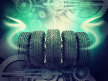Wheels on colorful abstract background Stock Photo
