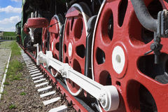 Wheels and coupling devices of a big locomotive Stock Image