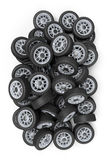 Wheels. 3D rendering of a pile of wheels Royalty Free Stock Photo