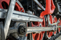 Wheels and drive mechanisms. Of the old Soviet steam locomotive Royalty Free Stock Image