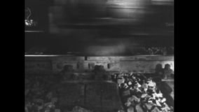 Wheels of a driving train. Black and White. Wheels of a train which drives over a track stock video