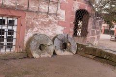 Wheels at the entrance. Seligenstadt Rhein Stock Image