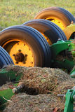 Wheels on farm equipment. Stock Photos