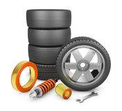 Wheels and filters. Wheels, air filters and shock absorber. 3d rendering Stock Photo