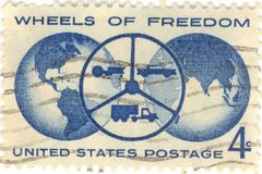 Wheels of Freedom Stamp. USA Wheels of Freedom four cent stamp Stock Image