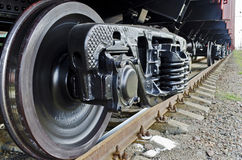 Wheels of a freight train stock photo