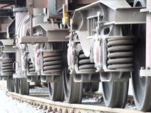 Wheels of the freight train Stock Images
