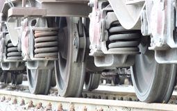 Wheels of the freight train Royalty Free Stock Photos