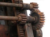 Wheels gear gear wheels. Wheels gear in gearing with shaft Stock Photo