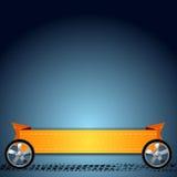 Wheels, grunge tire track and orange ribbon Stock Images
