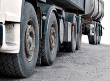 Wheels of heavy truck. Close up of wheels of heavy truck with trailer Royalty Free Stock Photo
