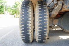 Wheels of heavy truck Stock Photo