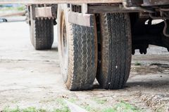 Wheels of heavy truck. Old truck tire Stock Photo