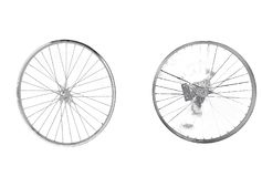 Bike wheels idle. Wheels idle, white background, concepts stock images