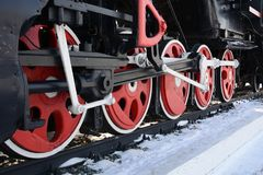 Wheels from locomote on rails. For old steam locomotive on the railway, as an exhibit, the memory of ancient technologiesn Stock Photo