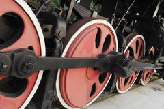 The wheels of the locomotive. The wheels of the steam locomotive Stock Images