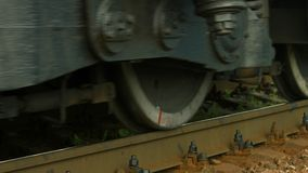 Wheels of the locomotive. Close up. Railway stock video