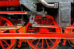 Wheels  of a locomotive on the rails Stock Photo