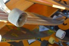 Wheels of a longboard. Type of skateboard Royalty Free Stock Photo