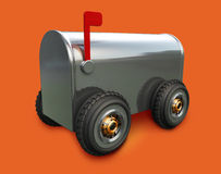 Wheels Mail. A 3D chrome mail box on wheels placed on a solid orange background Stock Photography