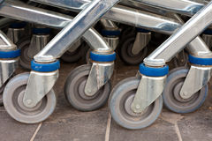 Wheels of Metal Shopping Carts Stock Photography